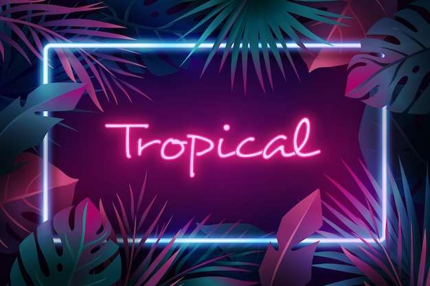 Tropical neon lettering with leaves Free Vector