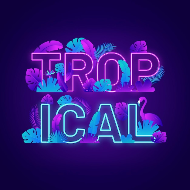 Tropical neon light lettering with leaves Free Vector