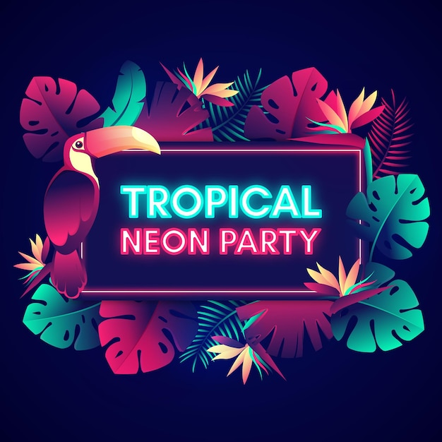 Tropical neon party lettering with leaves Free Vector