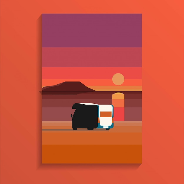 Tropical ocean sand beach in sunset daytime with a camper van parked near sea in holiday minimal style Premium Vector