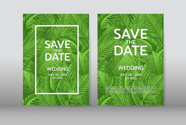 Tropical palm leaves background invitation or card with jungle tropical palm leaves background invitation or card with jungle leaves premium vector stopboris Choice Image