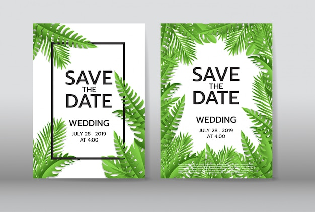 Tropical palm leaves background invitation or card with jungle tropical palm leaves background invitation or card with jungle leaves premium vector stopboris Images