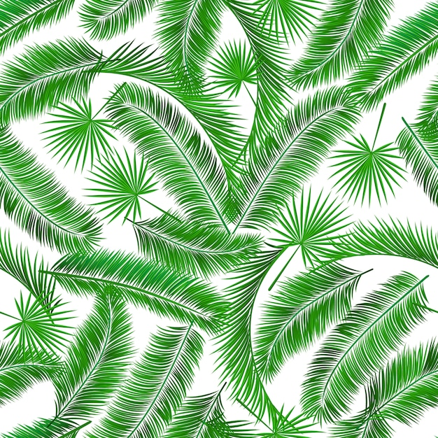 Tropical palm tree seampless pattern background template Free Vector