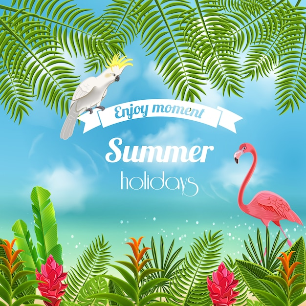 Tropical paradise background with blurred image of sea shores with flamingo parrot and leaves Free Vector