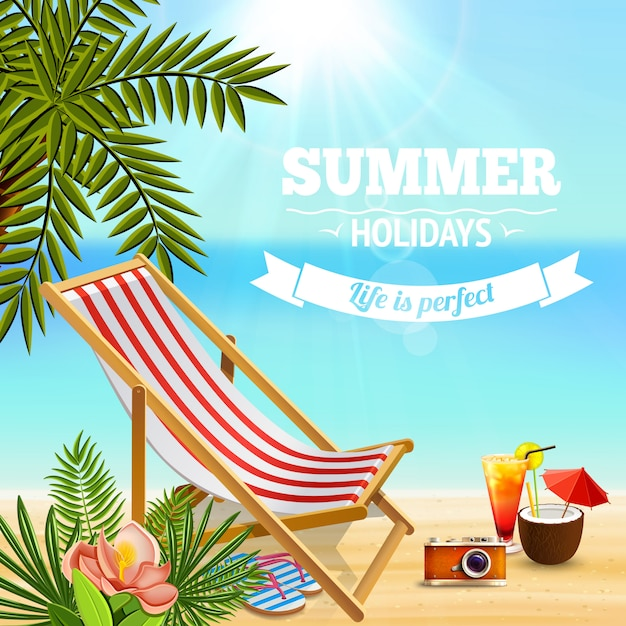 Tropical paradise background with editable text and sandy beach landscape with deck chair cocktails and plants Free Vector