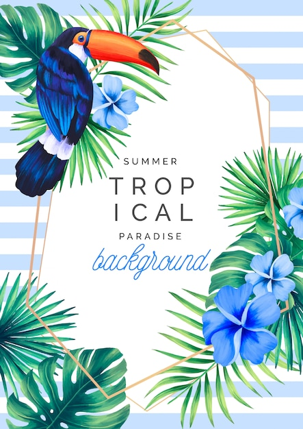 Tropical paradise background with toucan Free Vector