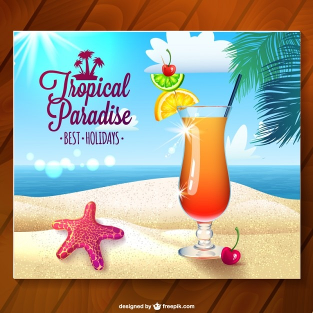 Tropical paradise card with summer cocktail Free Vector