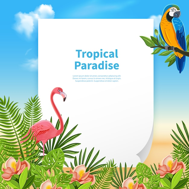 Tropical paradise composition with a piece of paper and editable text with plants Free Vector