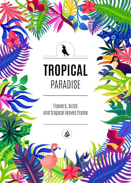 Tropical paradise frame background poster Free Vector