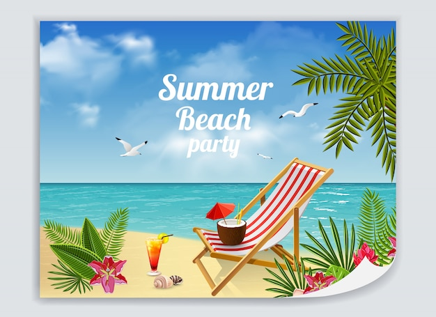 Tropical paradise poster with colorful picture of sandy beach with lounge deck chair cocktails and sea Free Vector