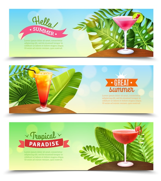 Tropical paradise vacations banners set Free Vector