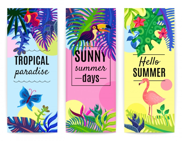 Tropical paradise vertical banners collection Free Vector