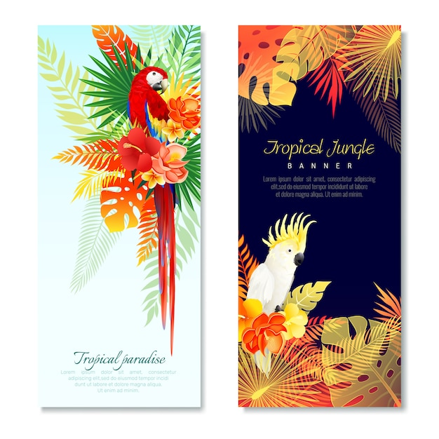 Tropical parrots vertical banners Free Vector