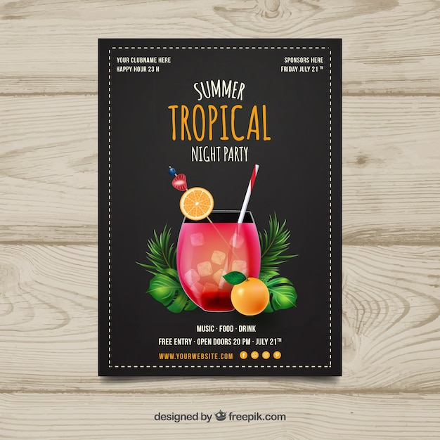 Tropical party brochure with cocktail Free Vector