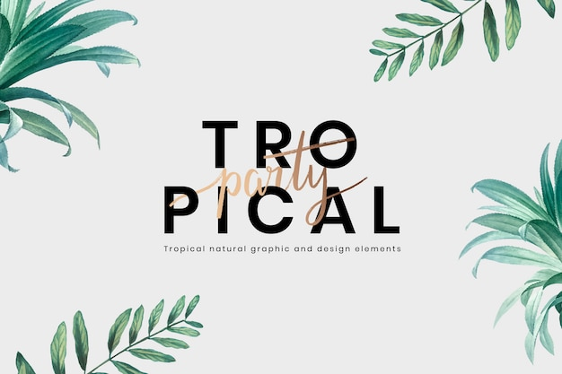 Tropical party lettering background Free Vector