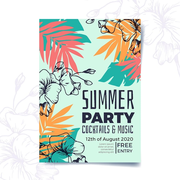 Tropical party poster template design Free Vector