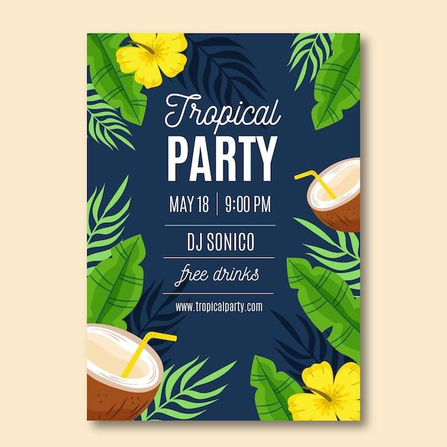 Шаблон плаката тропической вечеринки Бесплатные векторы