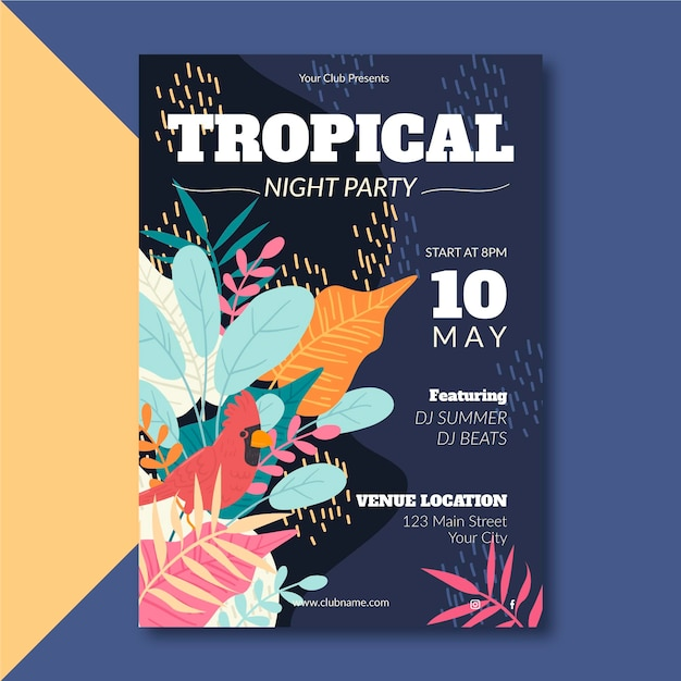 動物テンプレートと熱帯党のポスター 無料ベクター