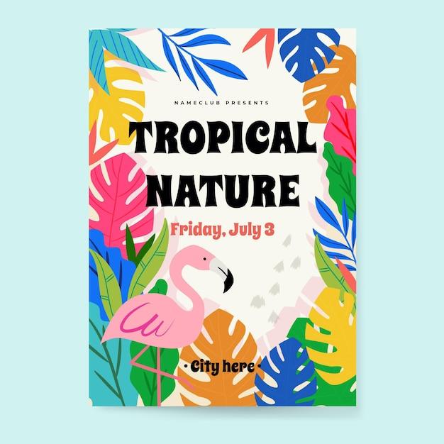 フラミンゴと熱帯党のポスター 無料ベクター