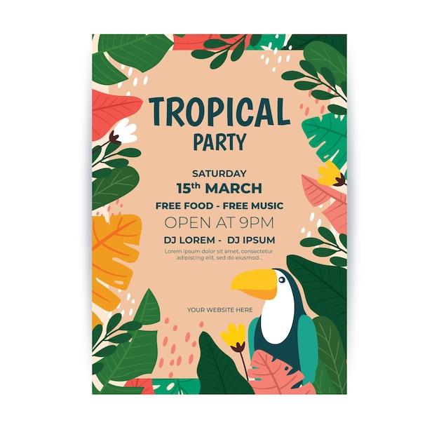 Manifesto del partito tropicale con foglie e tucano Vettore gratuito