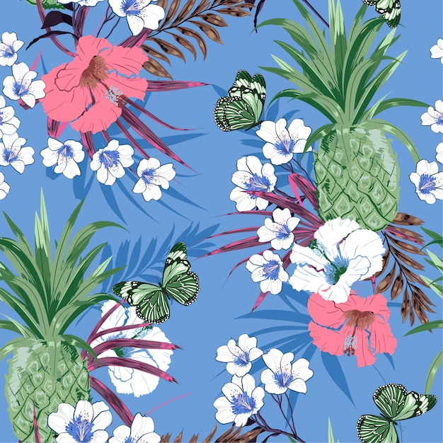 Tropical pattern background Premium Vector
