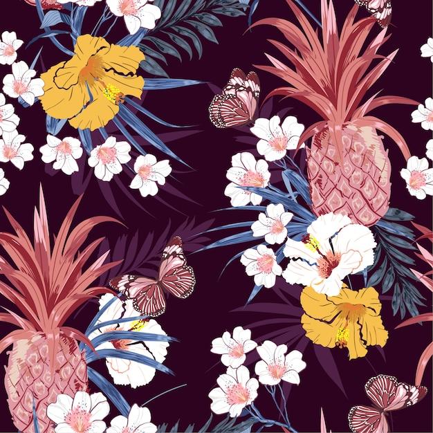Tropical pattern background Premium Vector