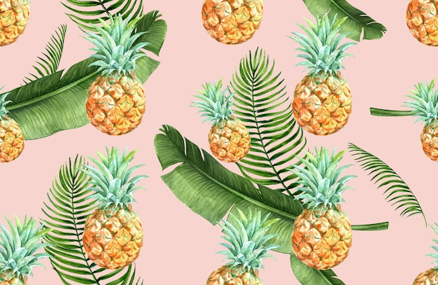 Tropical pattern flower watercolor, thanks card, textile print illustration Free Vector