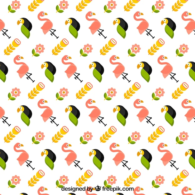 Tropical pattern with birds and plants
