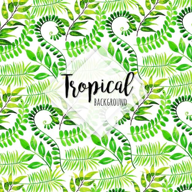 Tropical pattern with different leaves in watercolor style Free Vector
