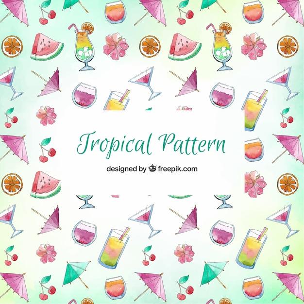 Modello tropicale con bevande e frutta Vettore gratuito