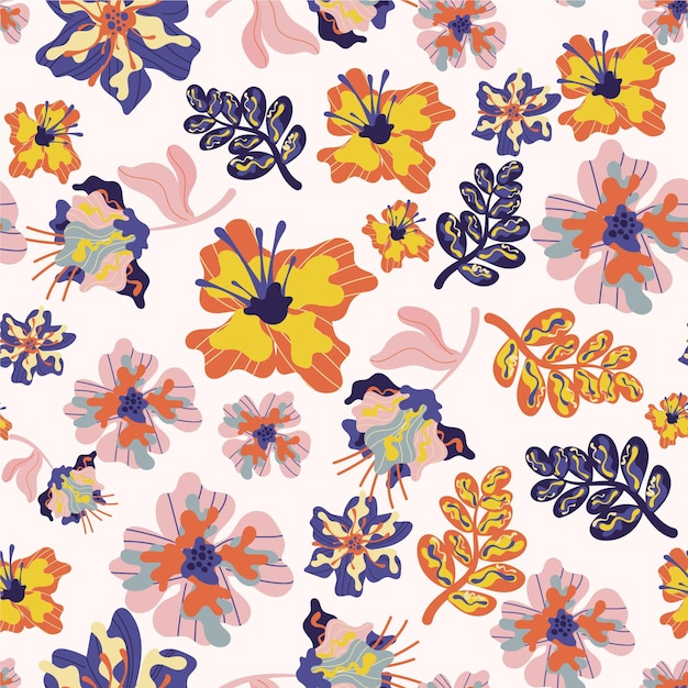 花と葉と熱帯のパターン 無料ベクター