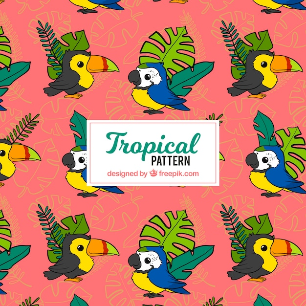 Tropical pattern with leaves and birds