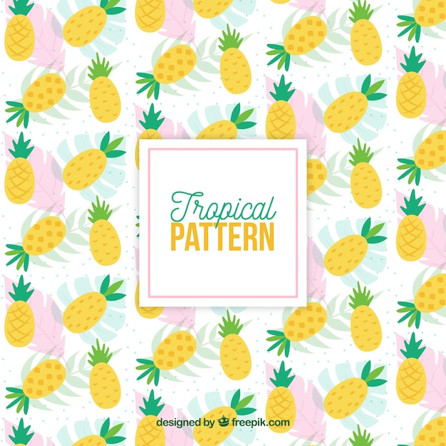 Tropical pattern with pineapples Free Vector