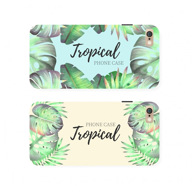 Tropical phone case template Free Vector