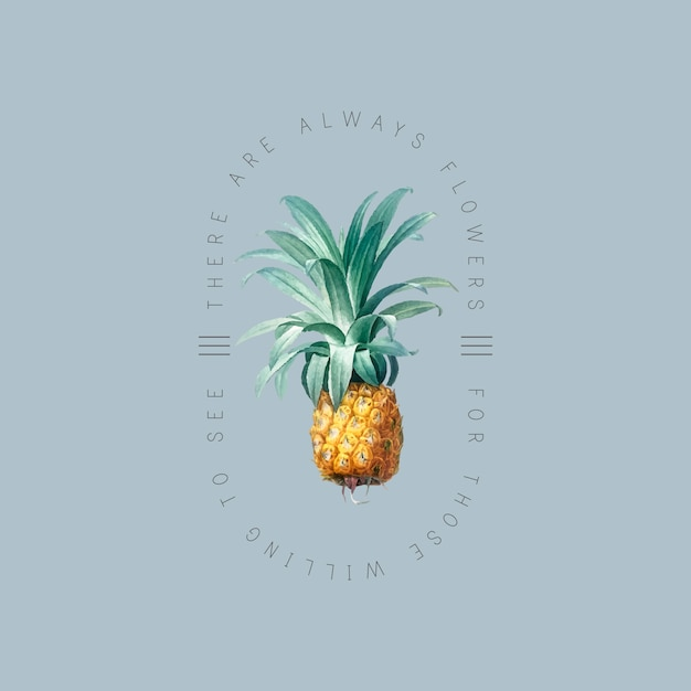 Tropical pineapple badge Free Vector