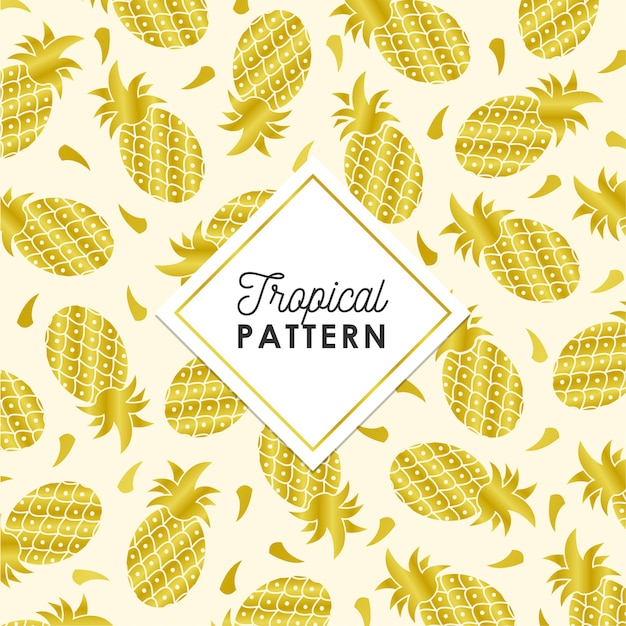 Tropical pineapple pattern in golden color Free Vector