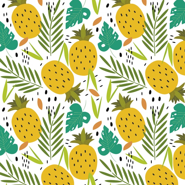 Tropical pineapples background Premium Vector