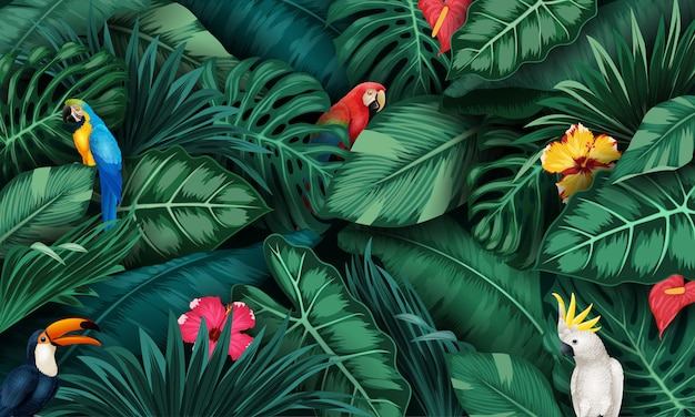 Tropical plants and birds collection set Premium Vector