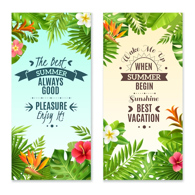 Tropical plants colorful vacation banners Free Vector