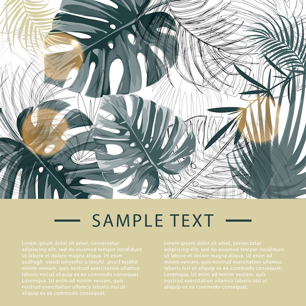 Tropical plants design template. Premium Vector
