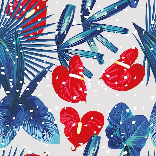 Tropical plants snow seamless pattern Premium Vector