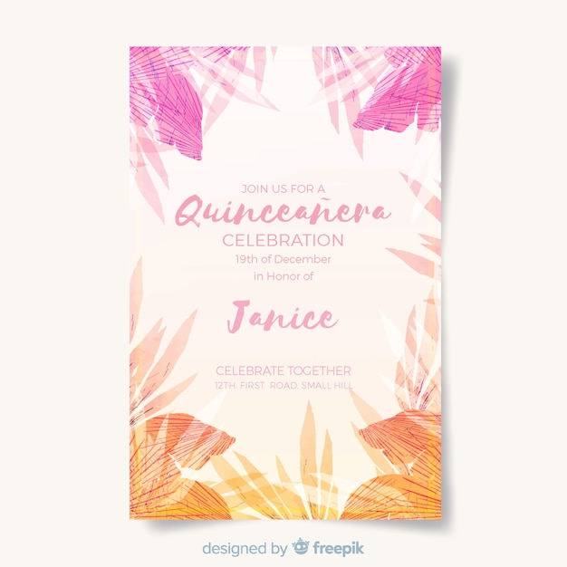 Tropical quinceanera card template Free Vector