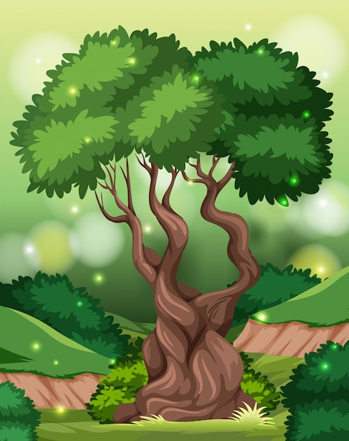 A tropical rainforest background Free Vector
