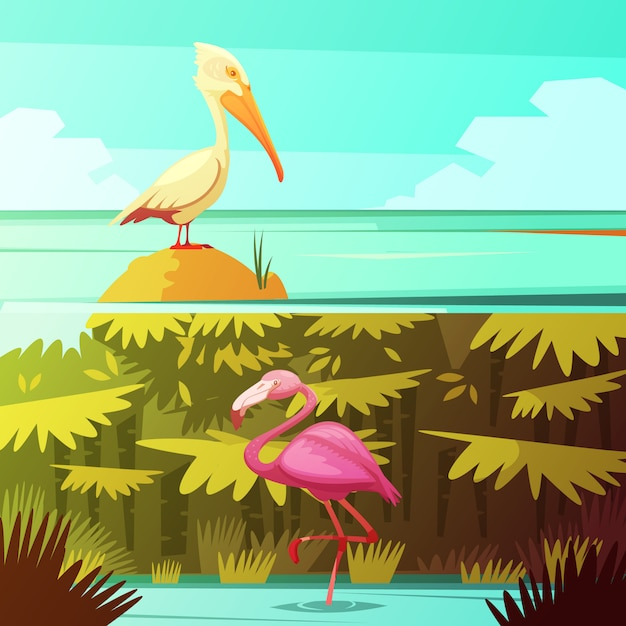 Tropical rainforest fauna 2 retro cartoon banners set with pink flamingo and pelican bird Free Vector
