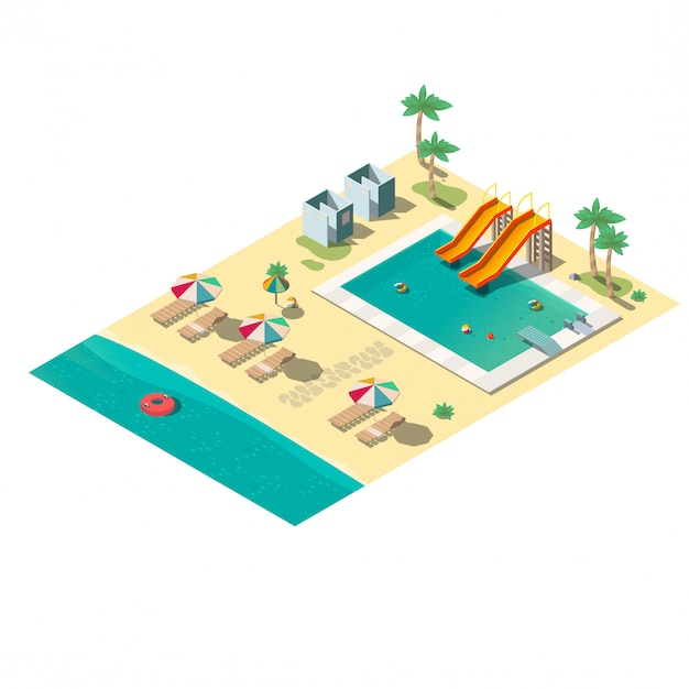 Tropical resort beach isometric  map section Free Vector