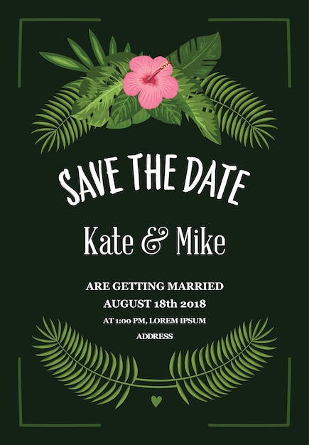 Tropical save the date card Free Vector