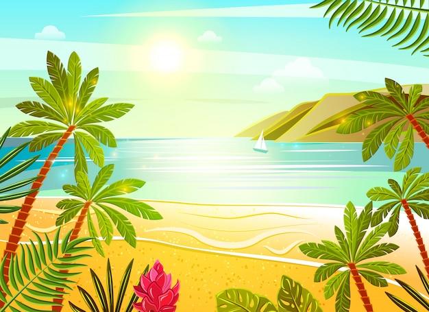 Tropical sea beach flat poster print Free Vector