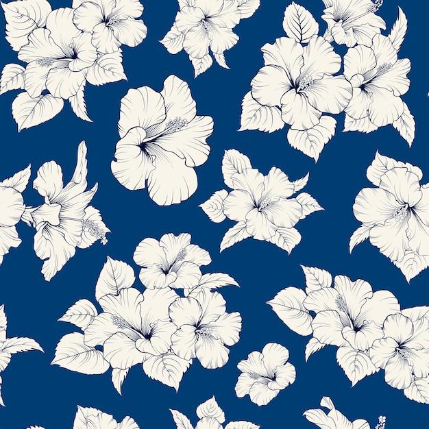 熱帯のシームレスなパターン。咲くハイビスカス 無料ベクター