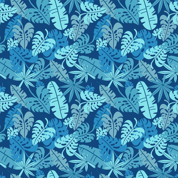 Premium Vector Tropical Seamless Pattern Palm Leaves Floral Background Exotic Plant Leaf Print Illustration Summer Blue Jungle Print Leaves Of Palm Tree On Paint Lines Flat Hand Drawn Design Tropical leaf palm print, showing various tropical plants together in one poster. https www freepik com profile preagreement getstarted 9337260