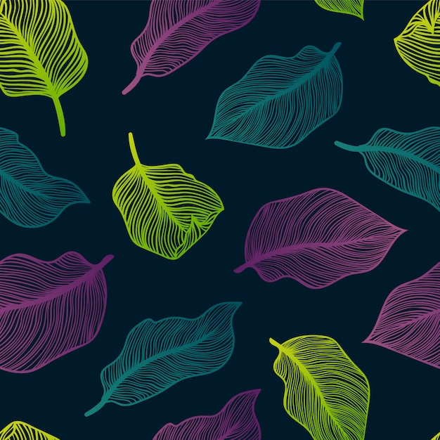 Tropical seamless pattern with exotic palm leaves. monstera, palm, banana leaves. exotic textile botanical design. summer jungle design. hawaiian style. Premium Vector